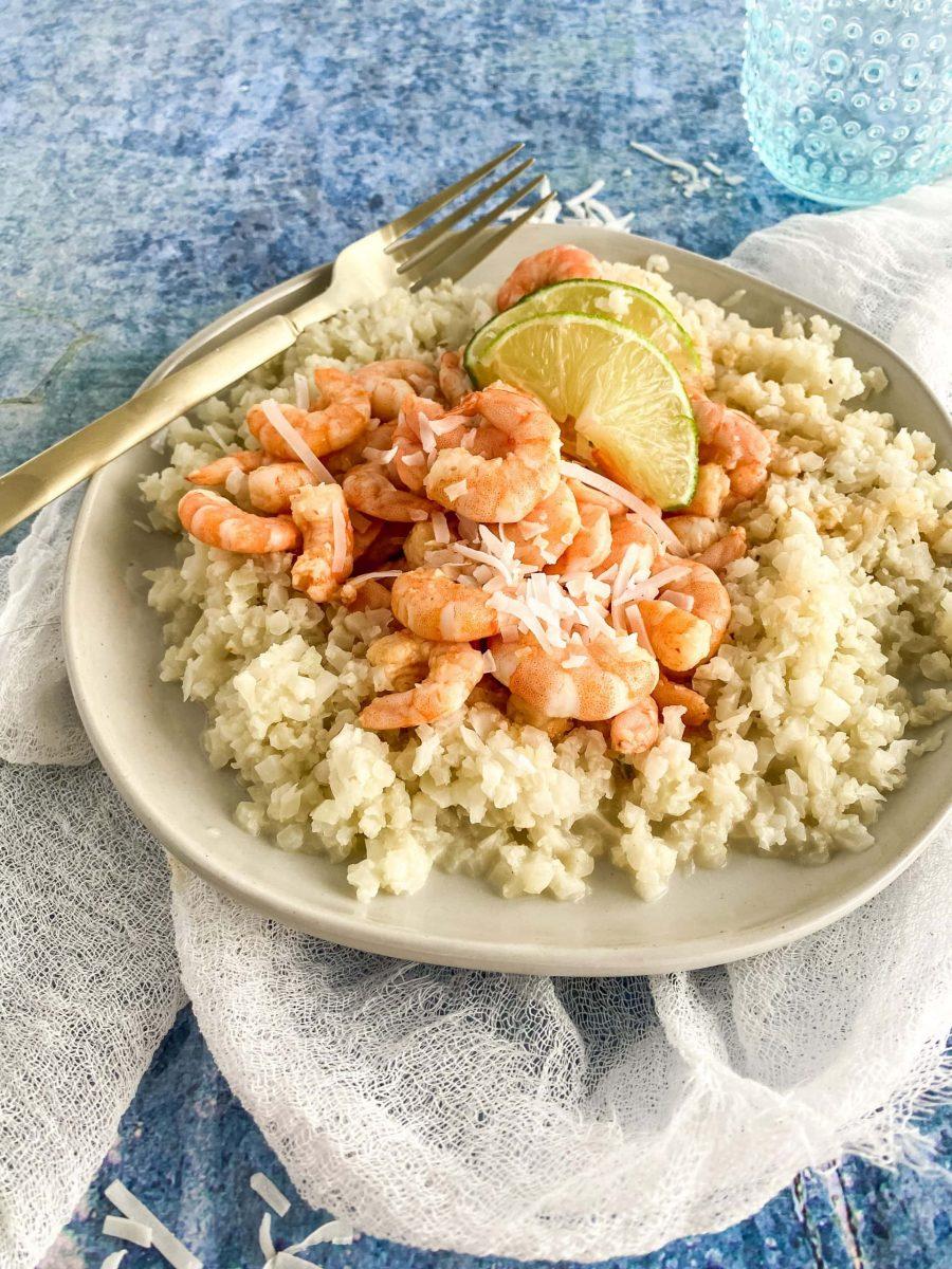 thai coconut shrimp over cauliflower rice